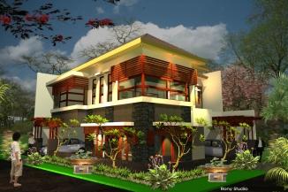 rumah pojok tropis modern