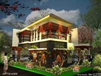 desain rumah sudut 2 lantai