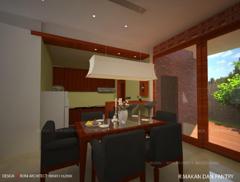desain interior ruang makan menyatu dengan taman